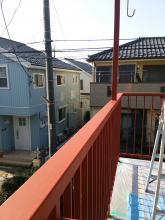 二階玄関 ポーチの補強工事 下塗り仕上げ塗り